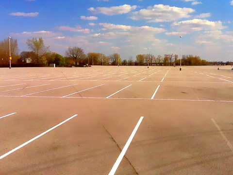 Line Painting for Cedar Point Parking Lot Striping