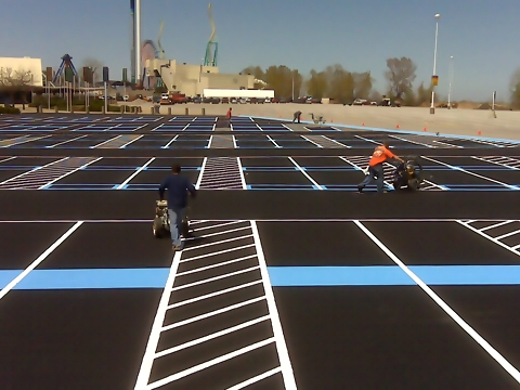 Parking lot line striping and airport line striping for Parking lot painting equipment